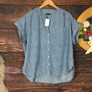 J Crew Mercantile chambray denim camp pocket top